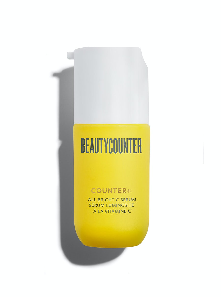 Beautycounter 30ml Counter+ All Bright Vitamin C Serum pump bottle on a white background